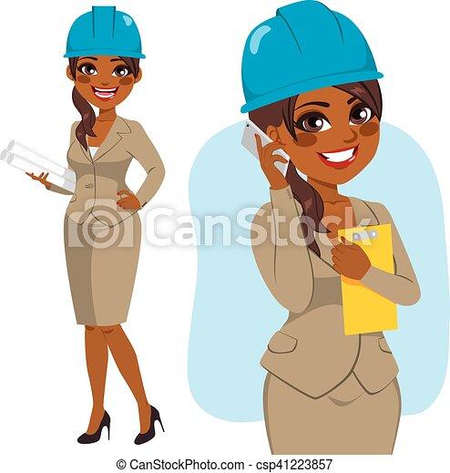 建築家, 女, 黒 - csp41223857