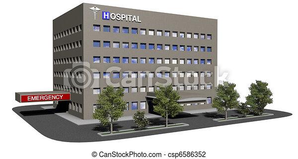 建築物, 醫院, 白色 背景 - csp6586352