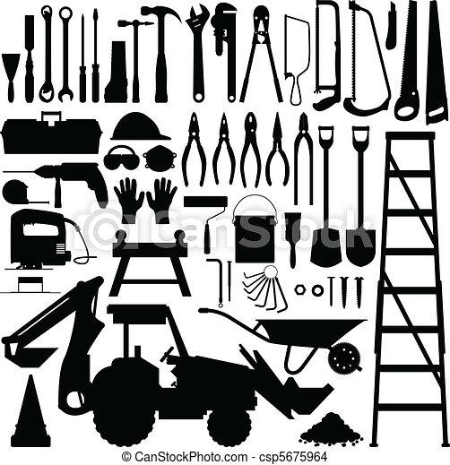 建設工具, 矢量, 黑色半面畫像 - csp5675964