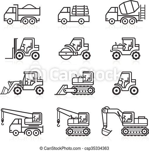 建設, トラック, set., アイコン - csp35334363