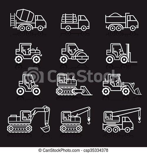 建設, トラック, set., アイコン - csp35334378