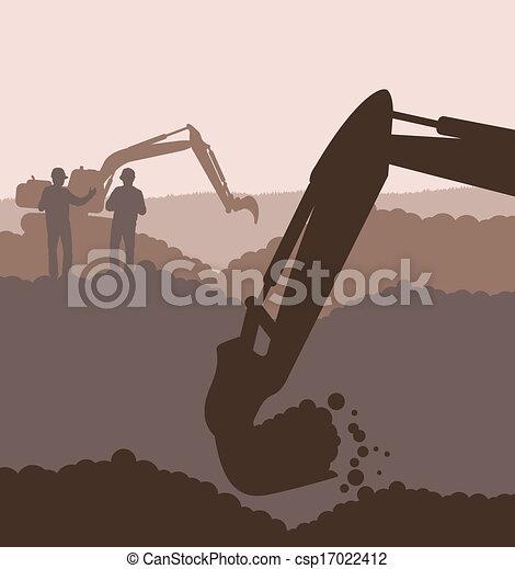 建設, ベクトル, サイト, 掘削機, 積込み機 - csp17022412