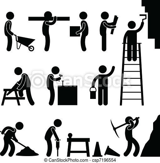 建設, 堅い働き, 労働 - csp7196554