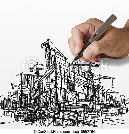 建設, 引く, サイト, 手 - csp10552764