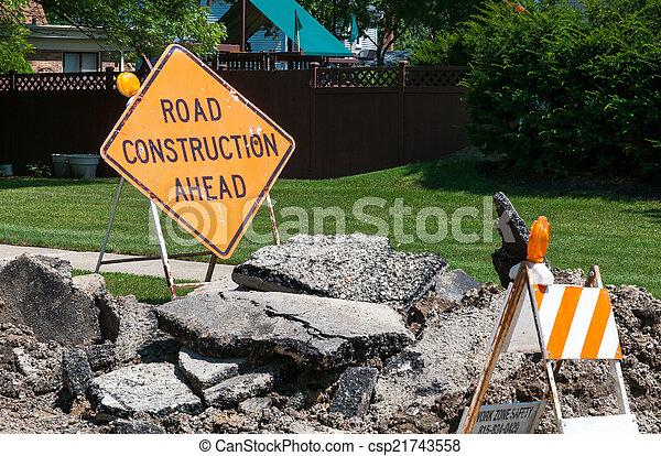 建設, 道, 前方に, 印 - csp21743558