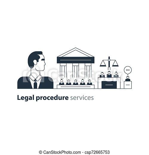 弁護士, 法廷, 専門家, 家, アイコン, 法的, 裁判, advocacy, 弁護士, サービス, 人 - csp72665753
