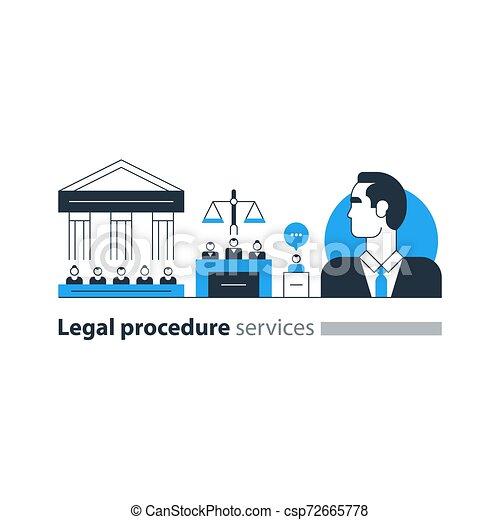 弁護士, 法廷, 専門家, 家, アイコン, 法的, 裁判, advocacy, 弁護士, サービス, 人 - csp72665778
