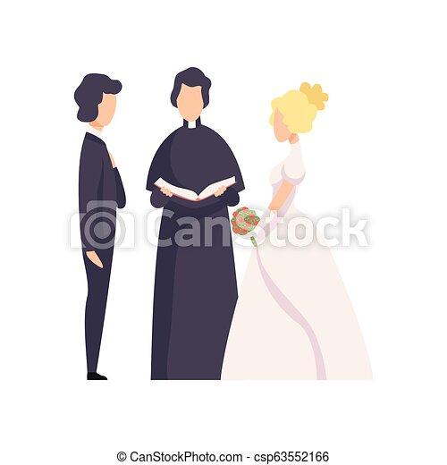 式, ベクトル, 新婚者, 恋人, イラスト, 司祭, 背景, 結婚式, 白, officiating - csp63552166