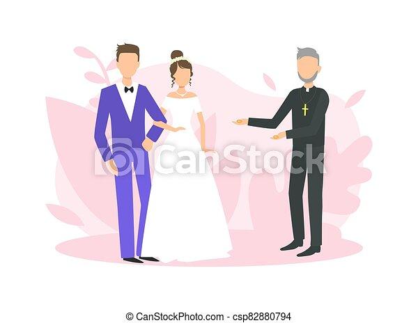 式, 司祭, イラスト, 平ら, officiating, ベクトル, 新婚者, 宗教, 結婚式の カップル, 式 - csp82880794