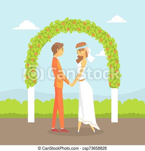 式, 恋人, 幸せ, 新婚者, アーチ, ベクトル, 結婚式, イラスト, 後ろ立つこと, 花 - csp73658828