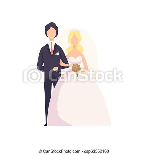 式, 新婚者, 恋人, イラスト, 優雅である, ベクトル, 背景, 結婚式, 白 - csp63552160