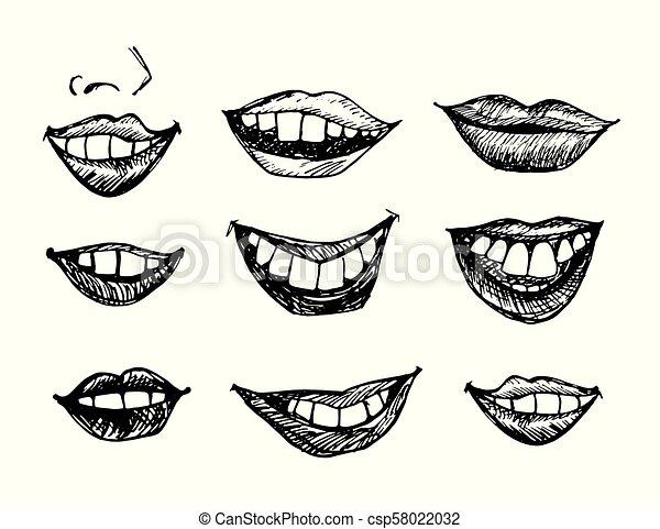引かれる, 微笑, 唇, 手 - csp58022032