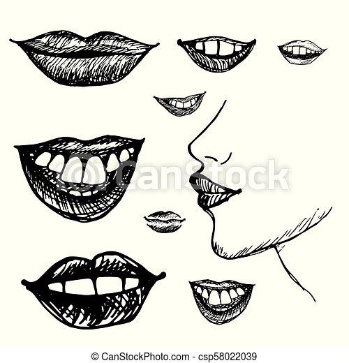 引かれる, 微笑, 唇, 手 - csp58022039