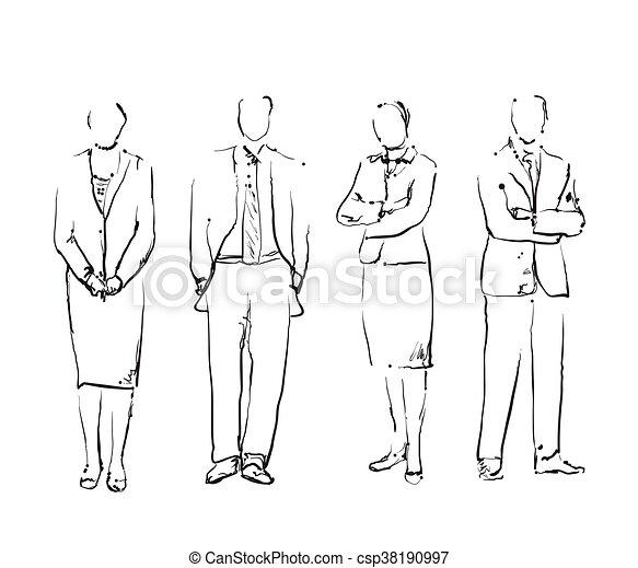 引かれる, 手, グループ, ビジネス 人々 - csp38190997