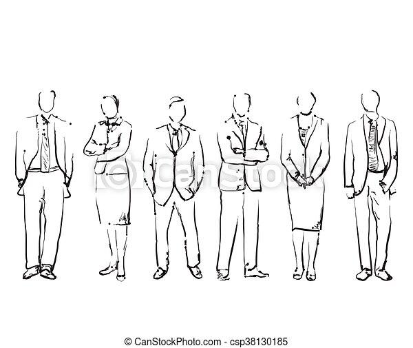 引かれる, 手, グループ, ビジネス 人々 - csp38130185