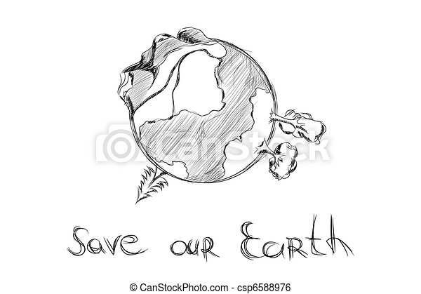 引かれる, 手, 漫画, 地球 - csp6588976