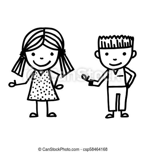 引かれる, 手, 漫画, 子供 - csp58464168