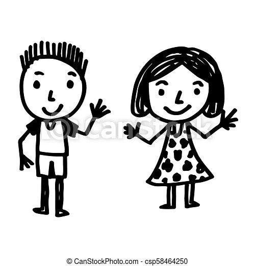 引かれる, 手, 漫画, 子供 - csp58464250