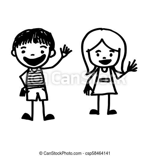 引かれる, 手, 漫画, 子供 - csp58464141