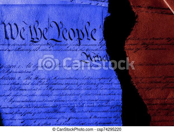 引き裂かれた, 憲法, 半分, 政治, 私達 - csp74295220
