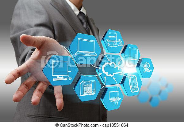 引く, ネットワーク, 抽象的, ビジネスマン, 雲, アイコン - csp10551664