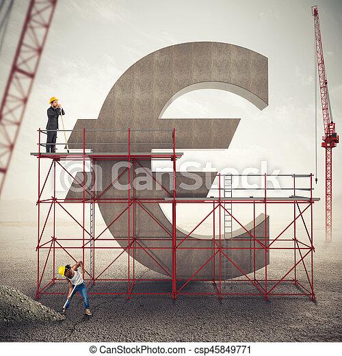 強くなりなさい, レンダリング, 3d, 経済, ユーロ - csp45849771