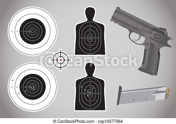 弾薬, 銃, -, ターゲット, イラスト - csp10077064