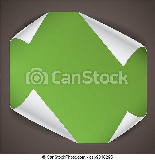 彎曲, 角落, 紙, 表, 空白 - csp9318295