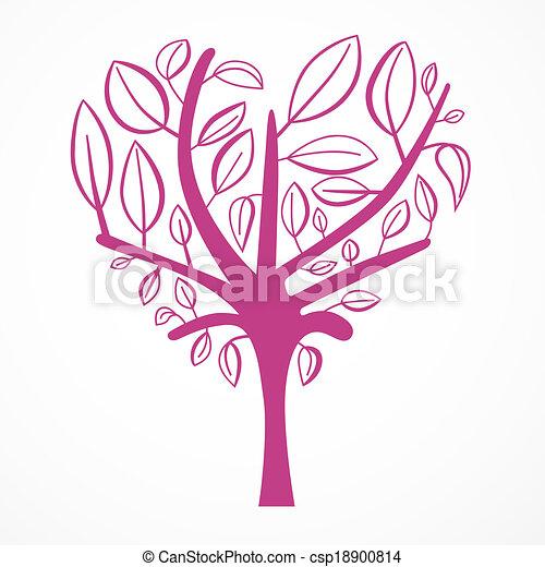 形づくられた心, 抽象的, 木, 背景, 白 - csp18900814
