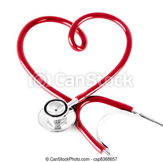 形, 白, 聴診器, 隔離された, 心 - csp8368657