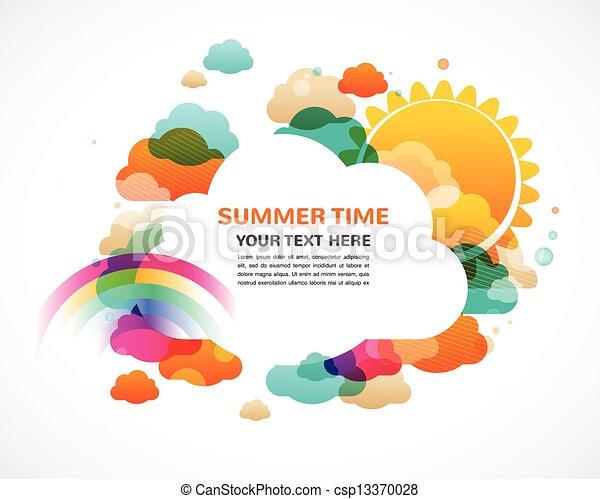 彩虹, 太陽, 鮮艷, 摘要, 云霧, 矢量, 背景 - csp13370028
