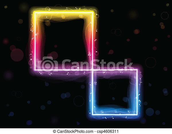 彩虹, 廣場, 邊框, swirls., 閃耀 - csp4606311