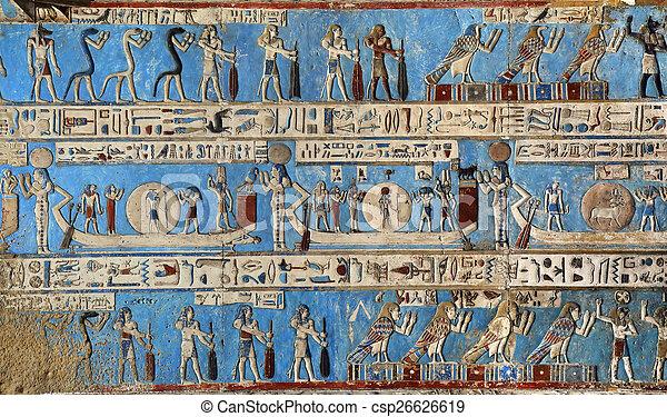 彫刻, 古代, hieroglyphic, 寺院, エジプト人 - csp26626619