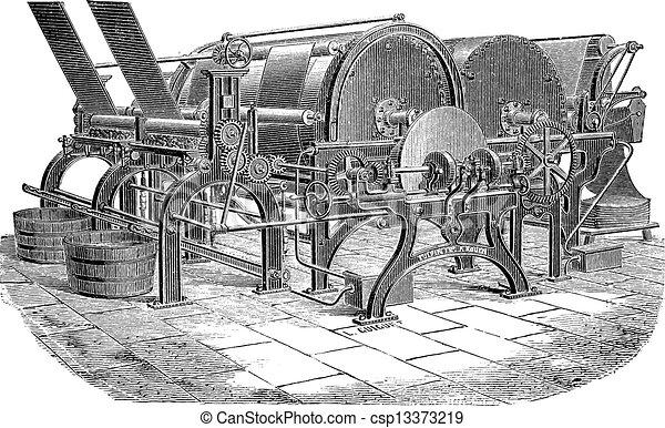 彫版, シリンダー, 型, 乾燥, 機械, ペーパー - csp13373219