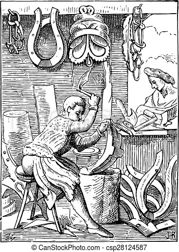 彫版, 世紀, 後で, 鞍, engraving., 型, 16番目 - csp28124587