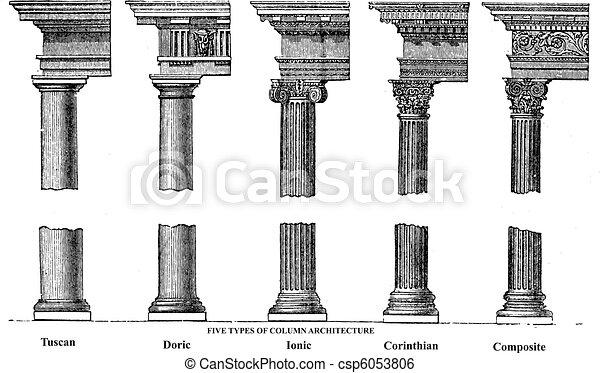 彫版, 古い, コラム, 5, 建築, タイプ - csp6053806