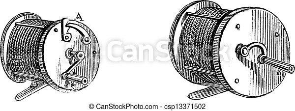 彫版, 型, 巻き枠, 釣り - csp13371502