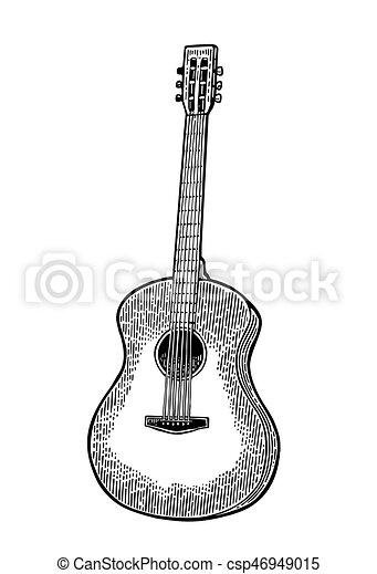 彫版, 型, guitar., イラスト, ベクトル, 黒, 音響 - csp46949015