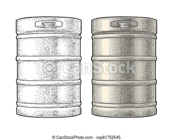 彫版, 型, keg., 金属, イラスト, ビール, ベクトル - csp61752545