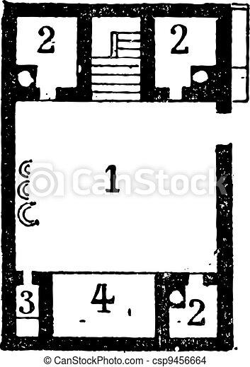 彫版, 床, 型, エジプト人, 家, 計画 - csp9456664