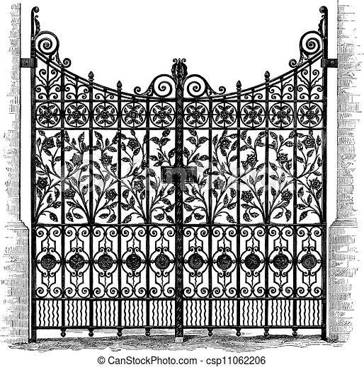 彫版, 門, 細工された鉄 - csp11062206