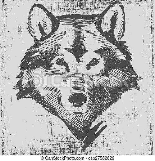 彫版, 頭, グランジ, スケッチ, 手ざわり, 手, スタイル, 狼, 引かれる - csp27582829