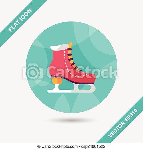 影, スケート, アイコン, eps10, 氷, 長い間, 平ら - csp24881522