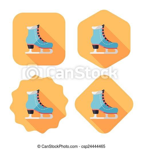 影, スケート, アイコン, eps10, 氷, 長い間, 平ら - csp24444465