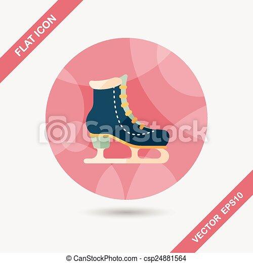 影, スケート, アイコン, eps10, 氷, 長い間, 平ら - csp24881564