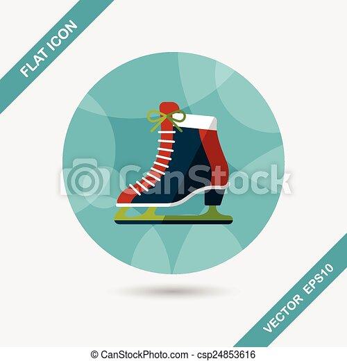 影, スケート, アイコン, eps10, 氷, 長い間, 平ら - csp24853616