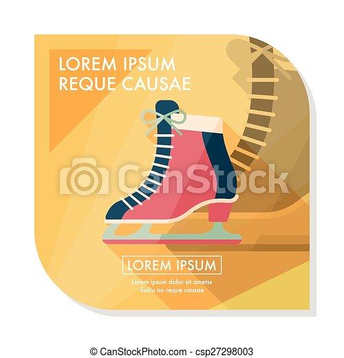 影, スケート, アイコン, eps10, 氷, 長い間, 平ら - csp27298003