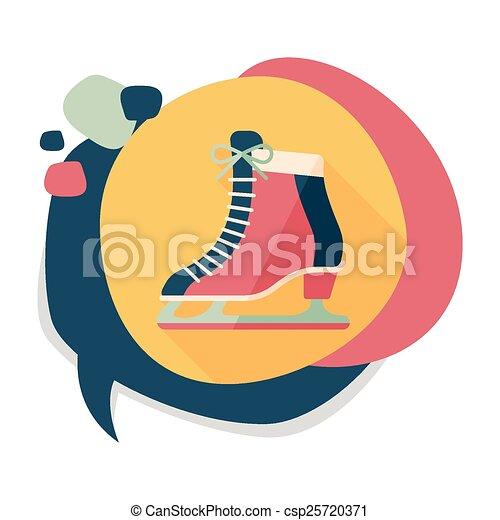 影, スケート, アイコン, eps10, 氷, 長い間, 平ら - csp25720371
