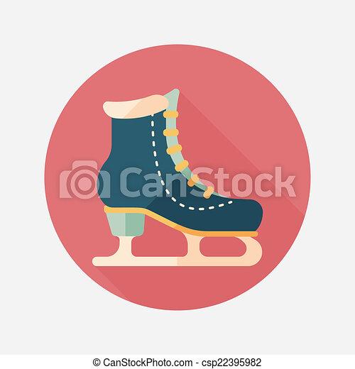 影, スケート, アイコン, eps10, 氷, 長い間, 平ら - csp22395982