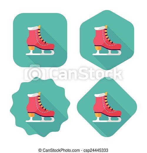 影, スケート, アイコン, eps10, 氷, 長い間, 平ら - csp24445333